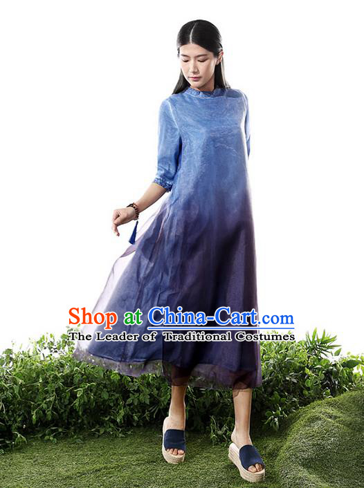 Traditional Chinese Costume Elegant Hanfu Printing Silk Dress, China Tang Suit Cheongsam Blue Qipao Dress Clothing for Women