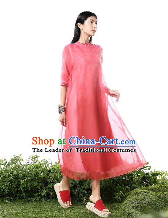 Traditional Chinese Costume Elegant Hanfu Printing Silk Dress, China Tang Suit Cheongsam Red Qipao Dress Clothing for Women