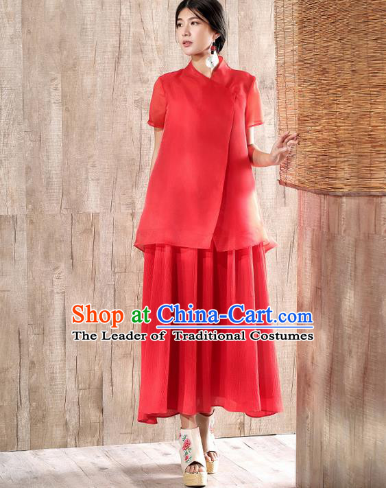 Traditional Chinese Costume Elegant Hanfu Silk Blouse and Dress, China Tang Suit Cheongsam Red Qipao Dress Clothing for Women