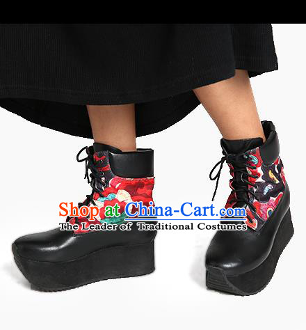 Traditional Chinese Shoes Embroidered Shoes Black Cow Leather Flange Boots Hanfu Shoes for Women