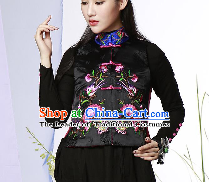 Traditional Ancient Chinese National Costume, Elegant Hanfu Embroidered Shirt, China Tang Suit Blouse Black Plated Buttons Vest for Women