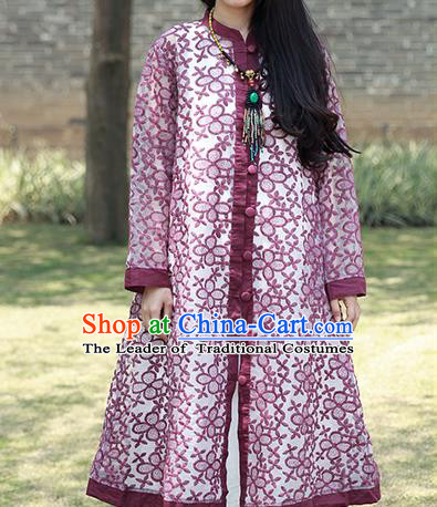 Traditional Ancient Chinese National Costume, Elegant Hanfu Embroidered Organza Coat, China Tang Suit Purple Dust Coat for Women