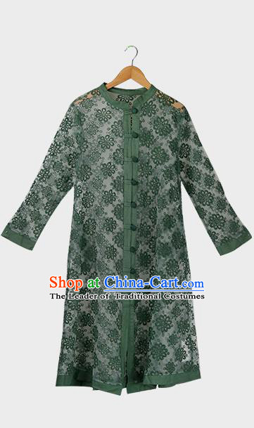 Traditional Ancient Chinese National Costume, Elegant Hanfu Embroidered Organza Coat, China Tang Suit Green Dust Coat for Women