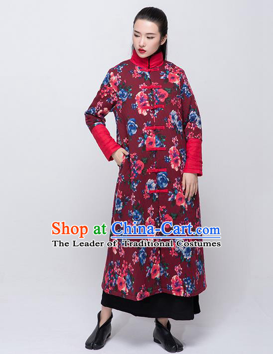 Traditional Chinese Costume Elegant Hanfu Embroidered Flowers Coat, China Tang Suit Plated Buttons Dust Coat Clothing for Women