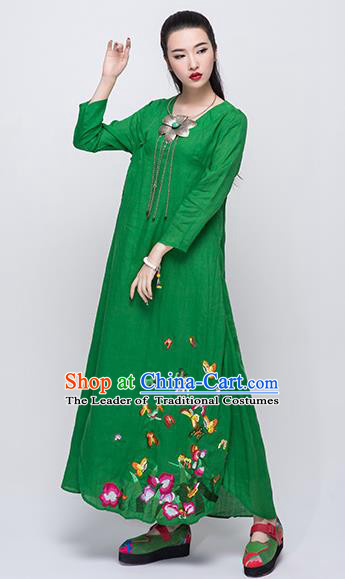 Traditional Chinese Costume Elegant Hanfu Embroidered Dress, China Tang Suit Green Qipao Dress Clothing for Women