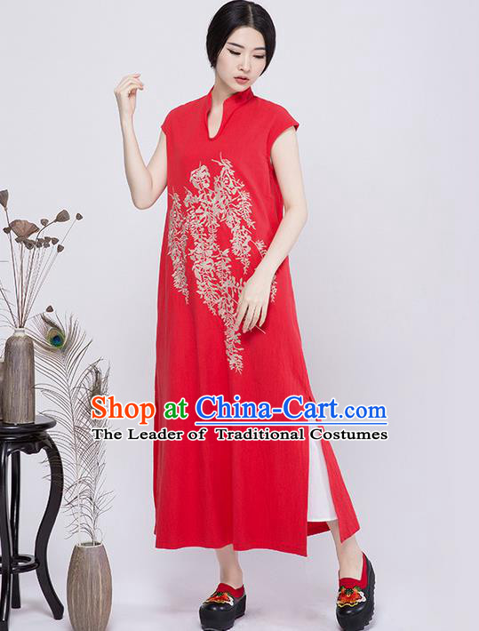 Traditional Chinese Costume Elegant Hanfu Embroidered Dress, China Tang Suit Cheongsam Red Qipao Dress Clothing for Women