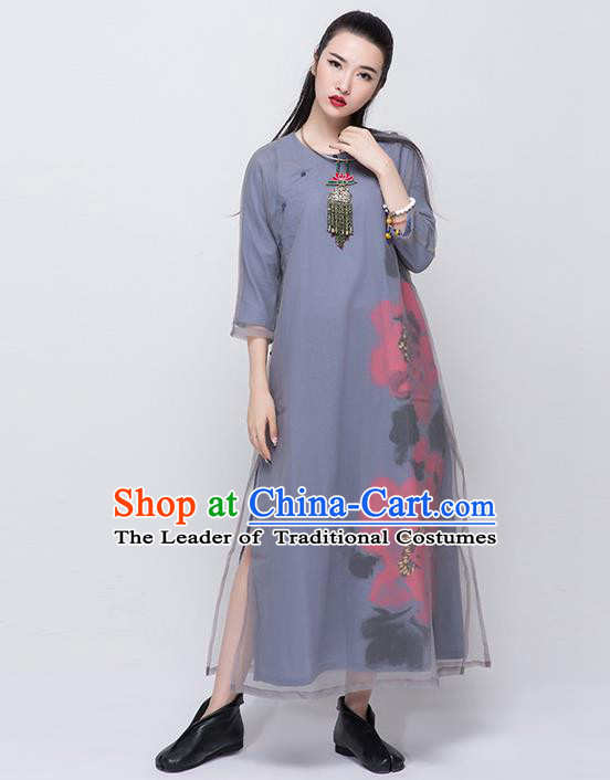 Traditional Chinese Costume Elegant Hanfu Printing Flowers Dress, China Tang Suit Cheongsam Grey Qipao Dress Clothing for Women