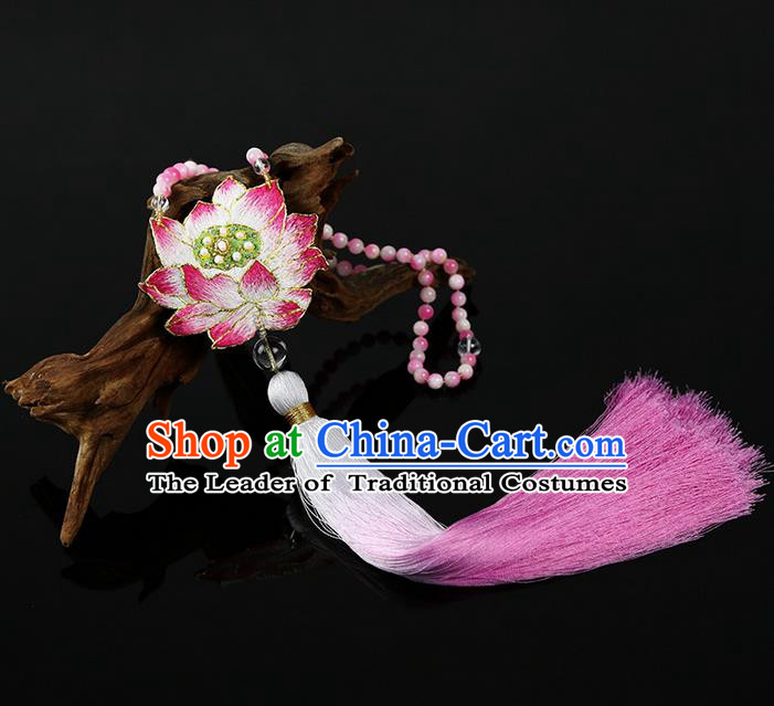 Traditional Chinese Accessories National Embroidered Lotus Necklace, China Pink Chalcedony Beads Tassel Necklet for Women