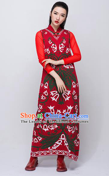 Traditional Chinese Costume Elegant Hanfu Woolen Dress, China Tang Suit Plated Buttons Red Cheongsam Qipao Dress Clothing for Women