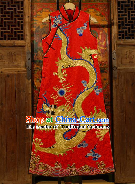Traditional Chinese Costume Elegant Hanfu Embroidery Dragon Dress, China Tang Suit Plated Buttons Red Cheongsam Silk Qipao Dress Clothing for Women