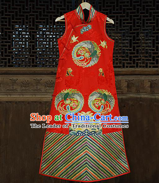 Traditional Chinese Costume Elegant Hanfu Printing Embroidery Phoenix Dress, China Tang Suit Plated Buttons Red Cheongsam Satin Qipao Dress Clothing for Women