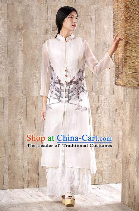 Traditional Chinese Costume Elegant Hanfu Printing Plum Blossom Cardigan, China Tang Suit Plated Buttons Silk Coat Clothing for Women