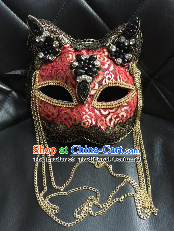 Top Grade Halloween Masquerade Accessories Mask, Brazilian Carnival Red Tassel Cat Mask Veil for Women