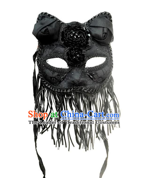 Top Grade Halloween Masquerade Accessories Bowknot Mask, Brazilian Carnival Black Tassel Cat Mask Veil for Women