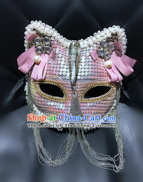 Top Grade Halloween Masquerade Accessories Crystal Mask, Brazilian Carnival Pink Cat Mask for Women