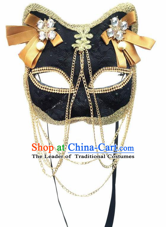 Top Grade Halloween Masquerade Accessories Crystal Mask, Brazilian Carnival Black Cat Mask for Women