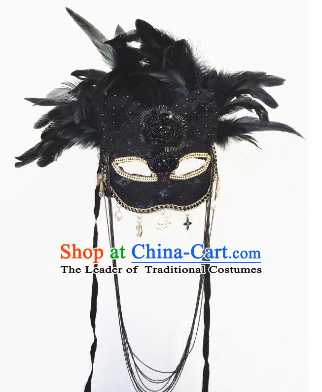 Top Grade Halloween Masquerade Accessories Deluxe Feather Mask, Brazilian Carnival Black Feather Cat Mask for Women