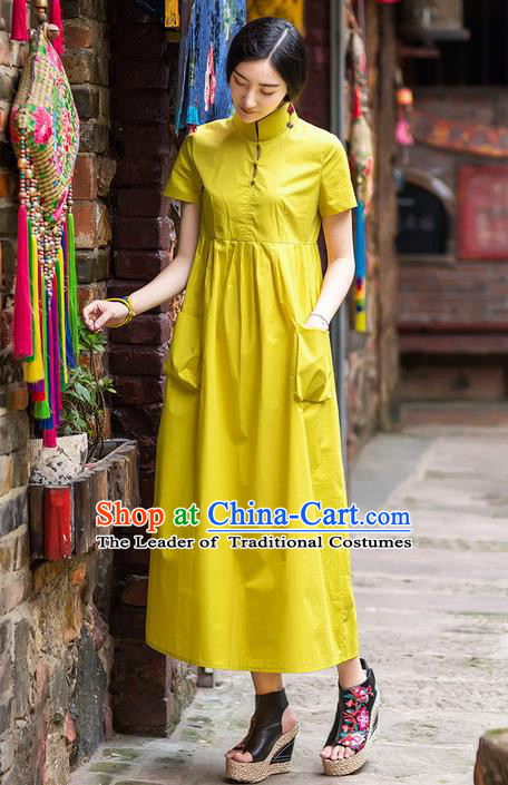 Traditional Chinese Costume Elegant Hanfu Dress, China Tang Suit Plated Buttons Cheongsam Yellow Qipao Dress Clothing for Women