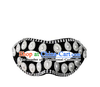 Top Grade Halloween Masquerade Accessories Pearls Mask, Brazilian Carnival Black Crystal Mask for Men