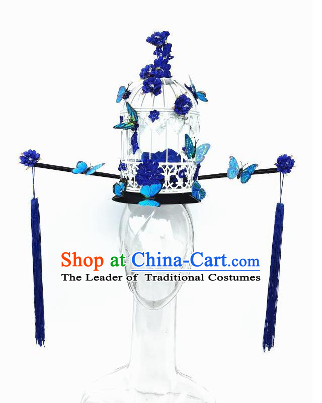 Top Grade Chinese Traditional Halloween Hair Accessories, China Style Cosplay Blue Butterfly Flowers Headwear Catwalks Headpiece for Women