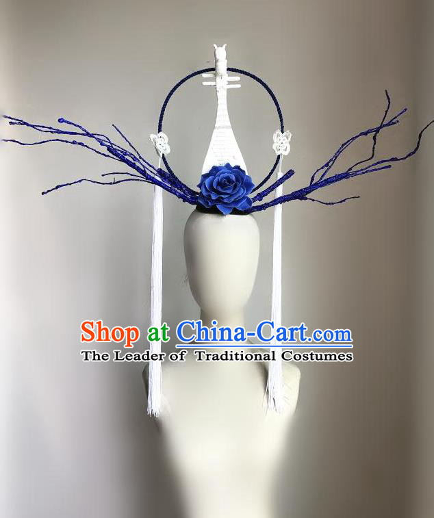 Top Grade Chinese Traditional Halloween Blue Peony Hair Accessories, China Style Cosplay Lute Headwear Catwalks Headpiece for Women