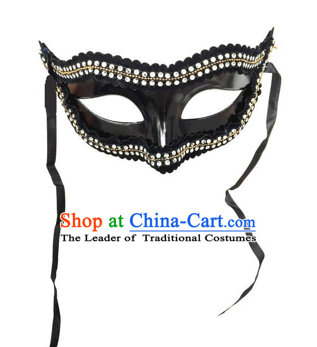 Top Grade Halloween Masquerade Ceremonial Occasions Handmade Model Show Crystal Mask Headwear, Brazilian Carnival Mask for Men