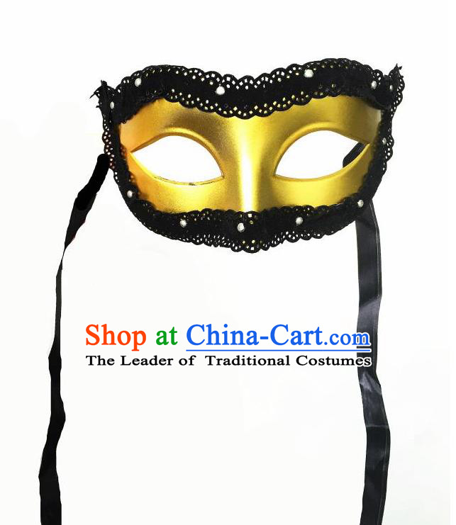 Top Grade Halloween Masquerade Ceremonial Occasions Handmade Model Show Crystal Golden Mask Headwear, Brazilian Carnival Lace Mask for Men
