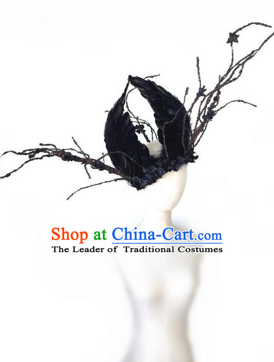 Top Grade Halloween Masquerade Ceremonial Occasions Handmade Model Show Baroque Headwear, Brazilian Carnival Black Feather Headdress for Women