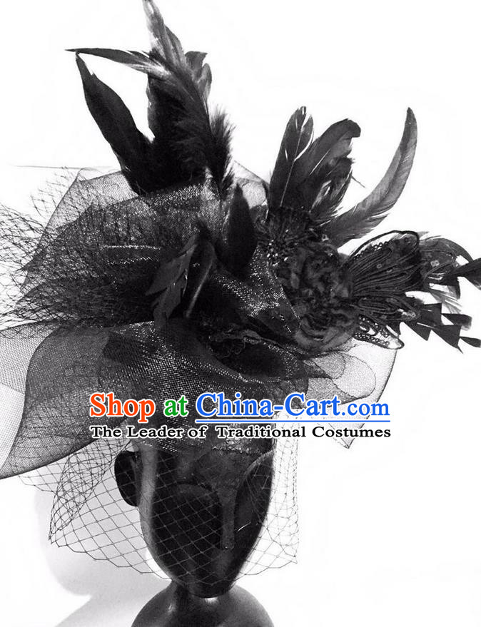Top Grade Halloween Masquerade Ceremonial Occasions Handmade Model Show Baroque Black Feather Hair Accessories Headdress for Women