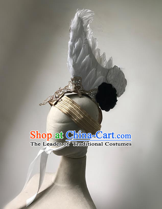 Top Grade Halloween Masquerade Ceremonial Occasions Handmade Model Show Baroque Hair Accessories White Feather Headdress Hat for Men
