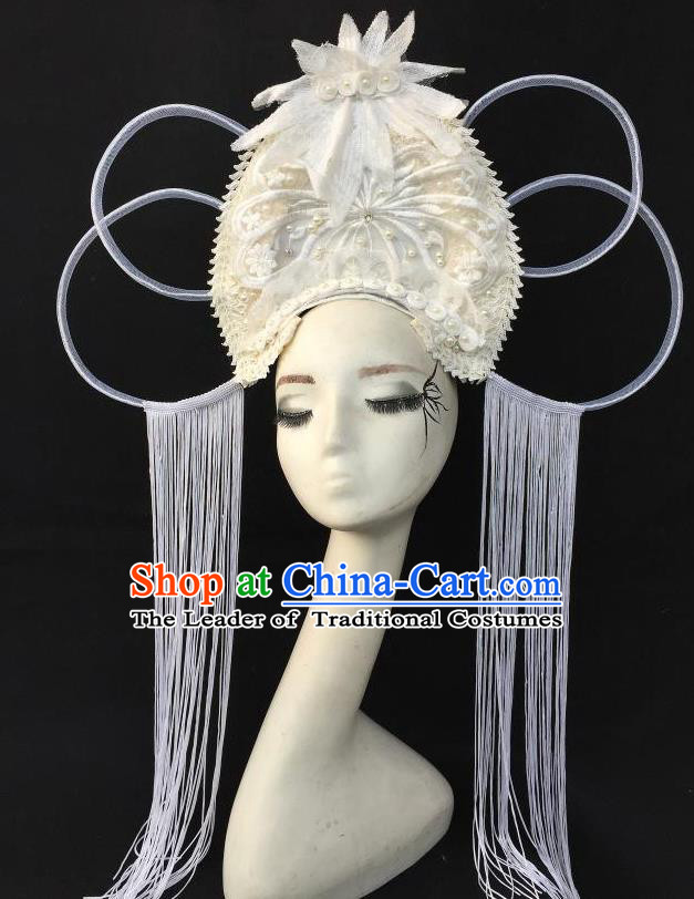 Top Grade Chinese Theatrical Headdress Ornamental Floral Hair Accessories, Ceremonial Occasions Handmade Traditional White Tassel Headdress for Women