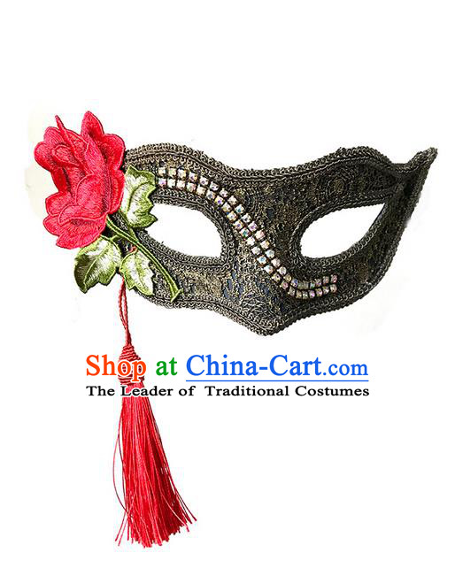 Top Grade Chinese Theatrical Luxury Headdress Ornamental Red Tassel Mask, Halloween Fancy Ball Ceremonial Occasions Handmade Flower Face Mask for Men