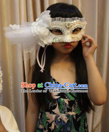 Top Grade Chinese Theatrical Luxury Headdress Ornamental White Veil Mask, Halloween Fancy Ball Ceremonial Occasions Handmade Flower Face Mask for Women