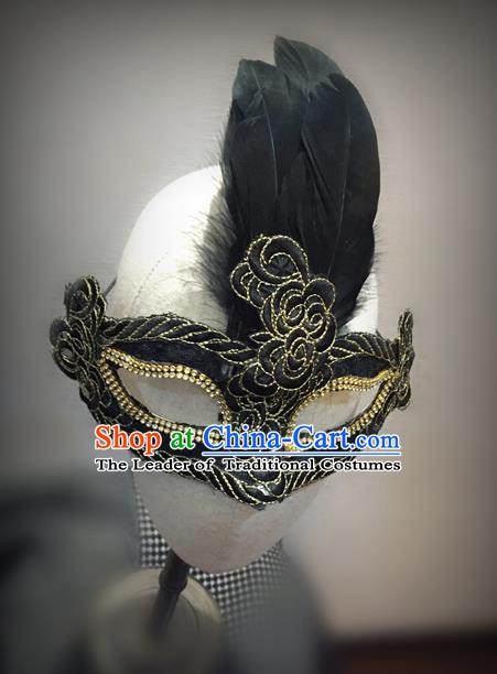 Top Grade Chinese Theatrical Luxury Headdress Ornamental Feather Mask, Halloween Fancy Ball Ceremonial Occasions Handmade Black Face Mask for Men