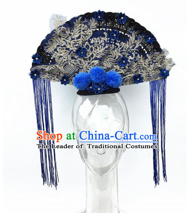 Top Grade Chinese Asian Headpiece Headpieces Model Show Fan Tassel Headdress, Ceremonial Occasions Handmade Traditional Ornamental Flowers Floral Headdress for Women