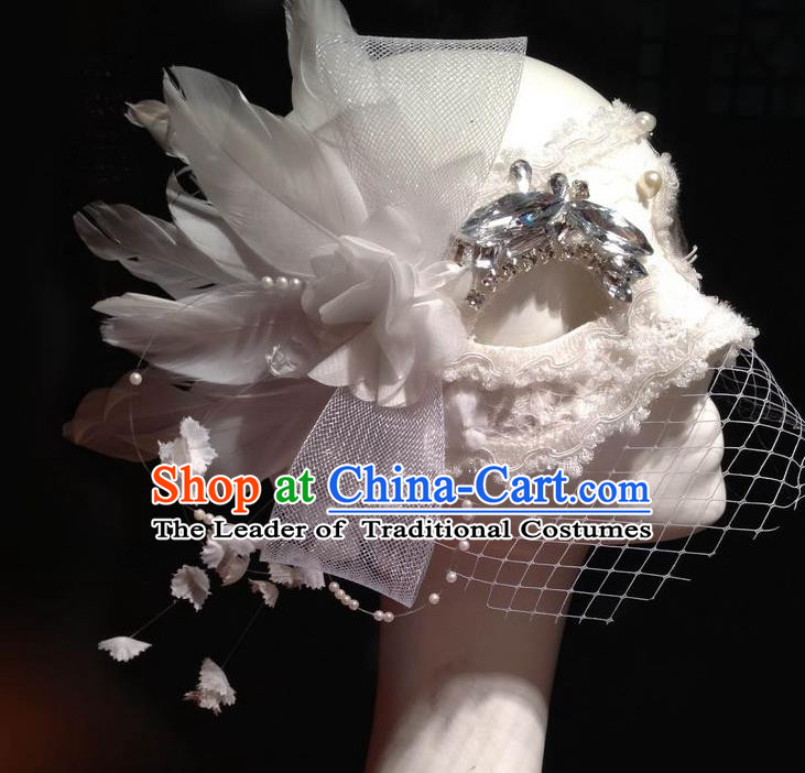 Top Grade Chinese Theatrical Luxury Headdress Ornamental White Veil Mask, Halloween Fancy Ball Ceremonial Occasions Handmade Crystal Face Mask for Women