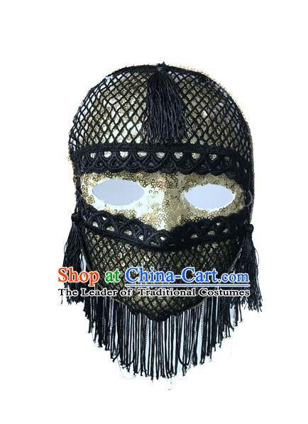 Top Grade Chinese Theatrical Luxury Headdress Ornamental Jazz Dance Mask, Halloween Fancy Ball Ceremonial Occasions Handmade Black Tassel Face Mask for Men