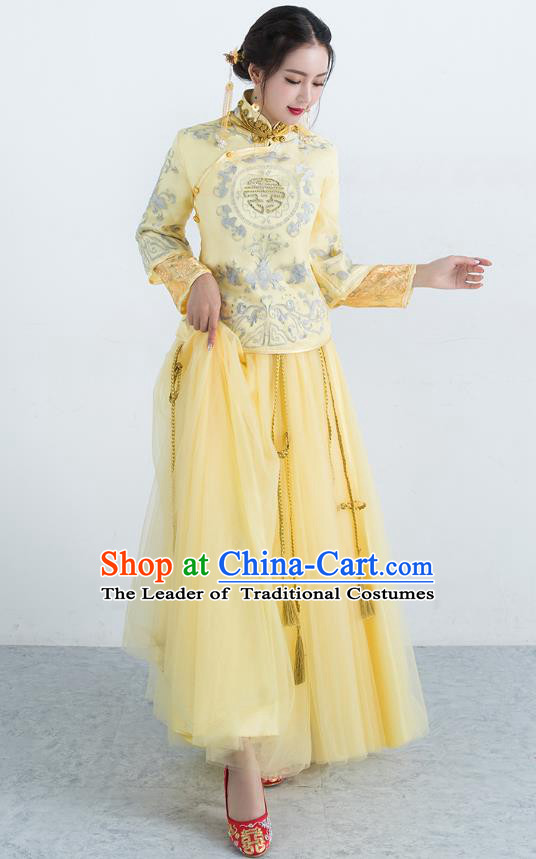 Traditional Ancient Chinese Wedding Costume Handmade XiuHe Suits Embroidery Golden Dress Bride Toast Cheongsam, Chinese Style Hanfu Wedding Clothing for Women