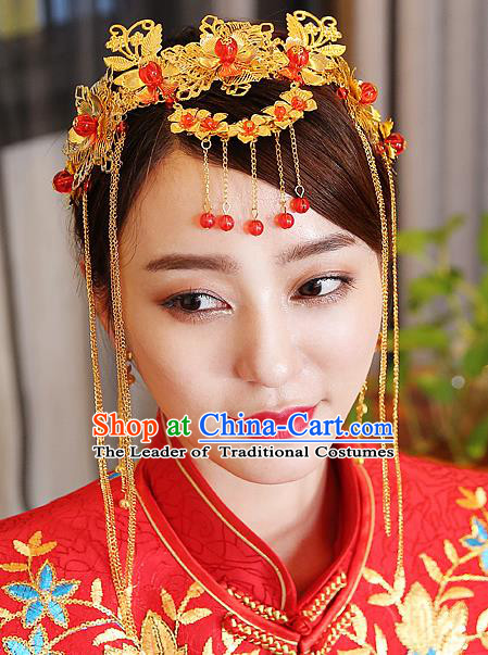 Traditional Handmade Chinese Ancient Classical Hair Accessories Bride Wedding Barrettes Tassel Hair Clasp, Xiuhe Suit Hair Jewellery Hair Fascinators Hairpins for Women
