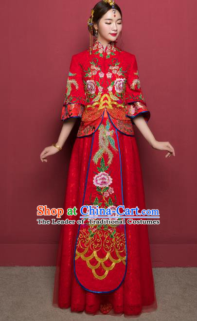 Traditional Ancient Chinese Wedding Costume Handmade XiuHe Suits Embroidery Peony Dress Bride Toast Red Veil Cheongsam, Chinese Style Hanfu Wedding Clothing for Women
