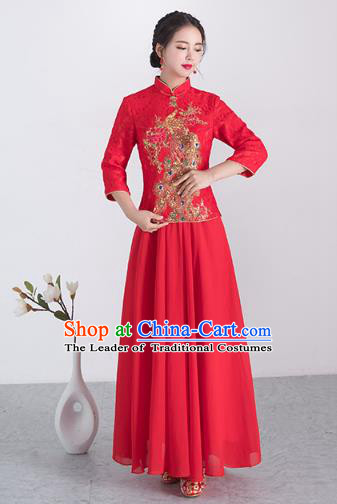 Traditional Ancient Chinese Wedding Costume Handmade XiuHe Suits Embroidery Peacock Longfeng Gown Bride Toast Plated Buttons Cheongsam, Chinese Style Hanfu Wedding Clothing for Women