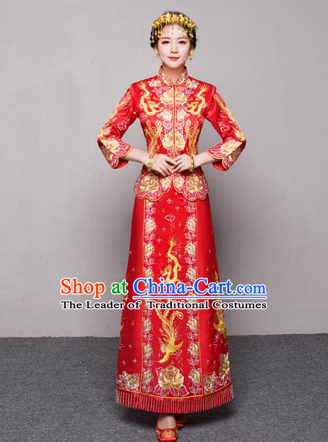 Traditional Ancient Chinese Wedding Costume Handmade XiuHe Suits Embroidery Dragon and Phoenix Xi Clothing Bride Toast Cheongsam, Chinese Style Hanfu Wedding Clothing for Women