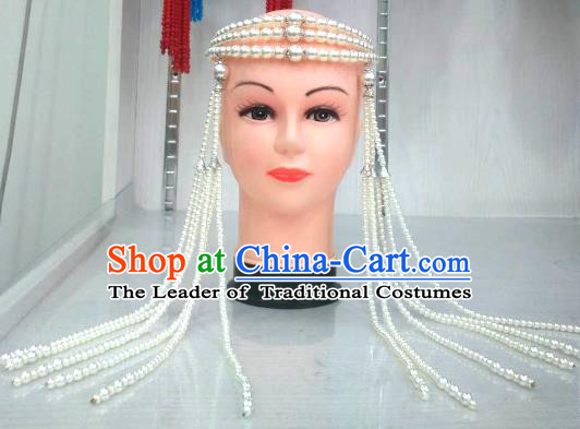 Traditional Handmade Chinese Mongol Nationality Handmade White Beads Tassel Hair Accessories, China Mongols Mongolian Minority Nationality Wedding Headwear for Women