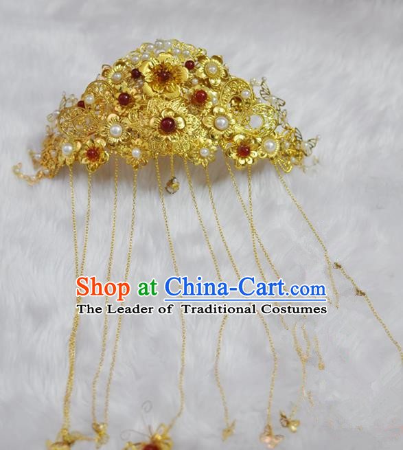 Traditional Handmade Chinese Ancient Classical Hair Accessories Bride Wedding Tassel Phoenix Coronet, Xiuhe Suit Hair Jewellery Hair Fascinators Hairpins for Women