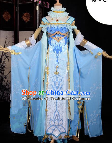 Chinese Ancient Cosplay Han Dynasty Royal Princess Costumes, Chinese Traditional Blue Dress Clothing Chinese Cosplay Swordsman Costume for Women
