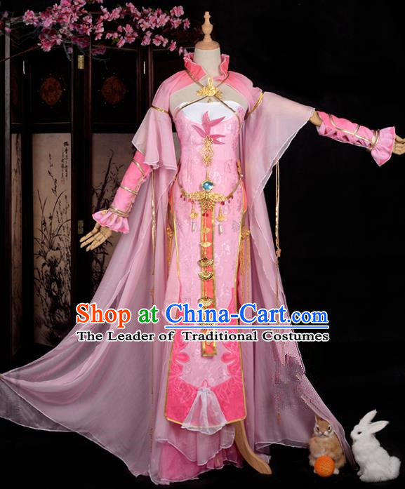 Chinese Ancient Cosplay Han Dynasty Imperial Concubine Costumes, Chinese Traditional Pink Dress Clothing Chinese Cosplay Swordsman Costume for Women