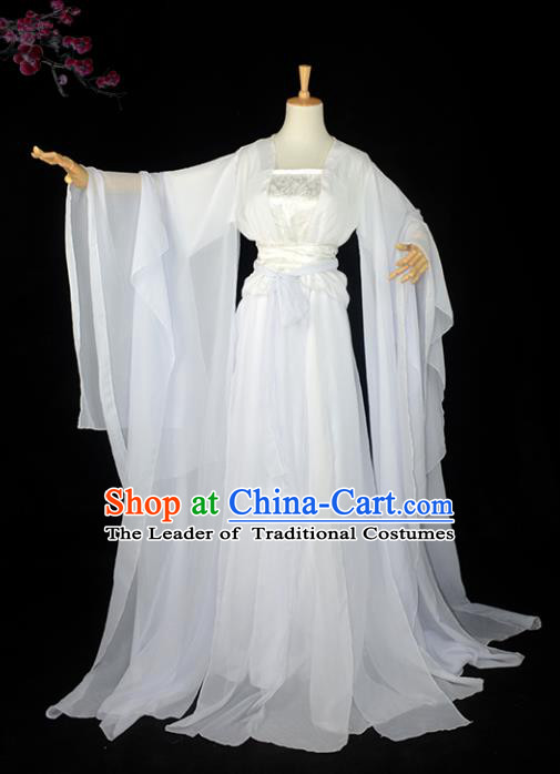 Chinese Ancient Cosplay Han Dynasty Imperial Princess Costumes, Chinese Traditional White Dress Clothing Chinese Cosplay Swordsman Costume for Women