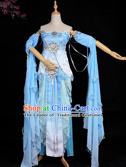 Chinese Ancient Cosplay Han Dynasty Young Lady Water Sleeve Costumes, Chinese Traditional Blue Dress Clothing Chinese Cosplay Swordsman Costume for Women