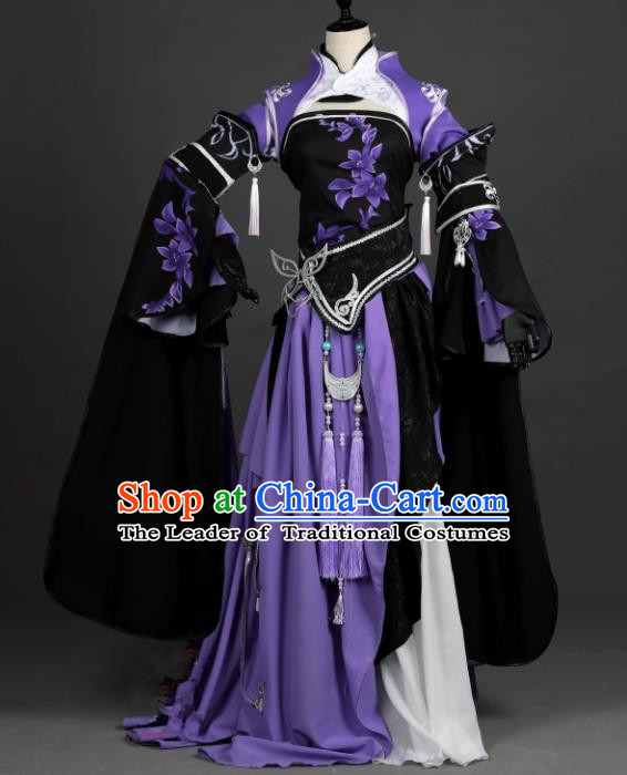 Chinese Ancient Cosplay Han Dynasty Young Lady Costumes, Chinese Traditional Purple Dress Clothing Chinese Cosplay Swordsman Costume for Women