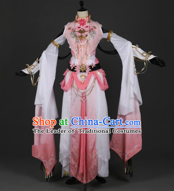 Chinese Ancient Cosplay Tang Dynasty Chivalrous Lady Dance Costumes, Chinese Traditional Pink Hanfu Dress Clothing Chinese Cosplay Swordswoman Costume for Women